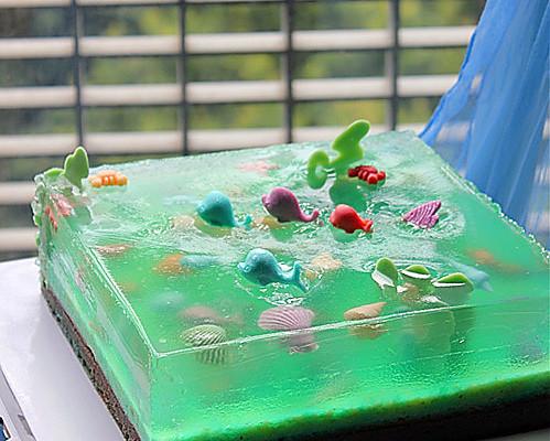 海洋之心~~夏日清爽柠檬果冻蛋糕#长帝烘焙节#的做法