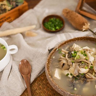 牡蛎豆腐蘑菇汤|二叔食集
