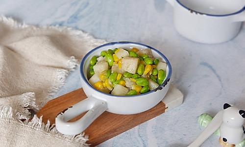 毛豆玉米山药丁的做法