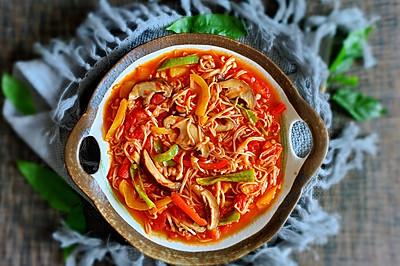 番茄彩椒炒菌菇