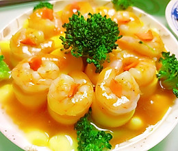 #憋在家里吃什么#高颜值低难度的虾仁蒸日本豆腐的做法