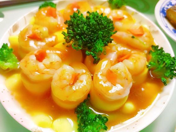 高颜值低难度的虾仁蒸日本豆腐的做法