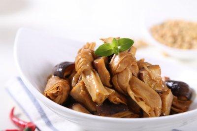 自动烹饪锅简单做香菇腐竹结-捷赛私房菜