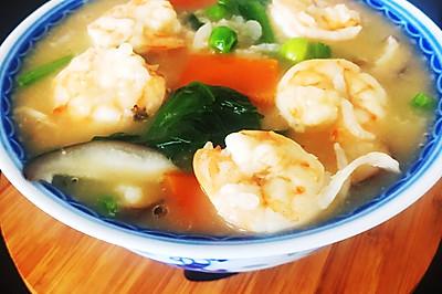 鲜虾蔬菜粥#最惬意的早餐莫过一碗海鲜粥