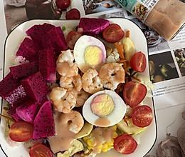 #321沙拉日#虾仁鸡蛋水果蔬菜沙拉的做法