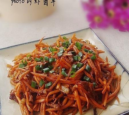 胡萝卜炒肉丝的做法