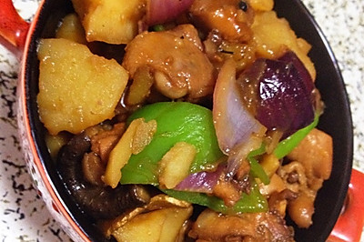无油版香菇土豆焖鸡米饭