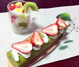 大麦清汁山药草莓蛋糕的做法