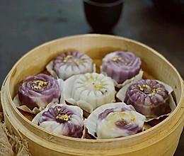 秋食:双色渐变紫薯山药糯米饼的做法