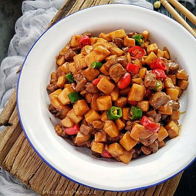 家常菜~杏鲍菇烧牛肉粒