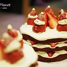 圣誕草莓雪人 紅絲絨戚風裸蛋糕