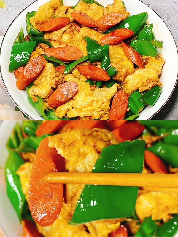 简单快手家常菜!青椒火腿炒鸡蛋的做法