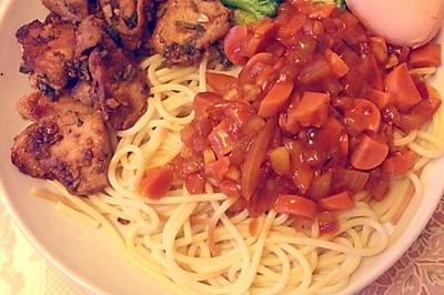 增肌营养餐—蒜香煎鸡胸意大利面