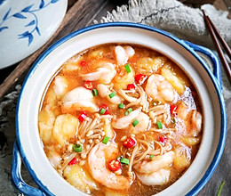 超鲜美巨下饭的金针虾仁豆腐煲#中秋团圆食味#的做法