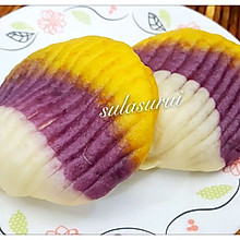 彩色贝壳夹饼~自制酵母面食