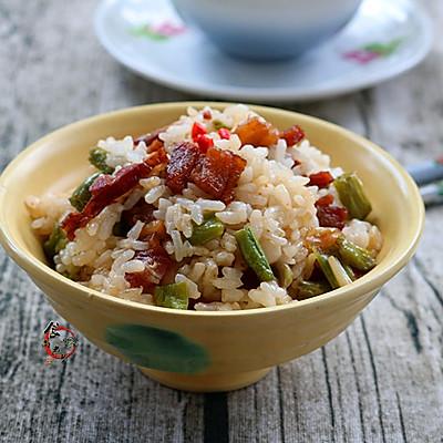 五花肉腊肠豇豆焖饭