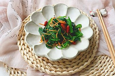 快手花生米拌菠菜