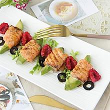 烤三文鱼牛油果卷