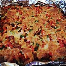 美味鸡肉鲜虾芝士焗饭