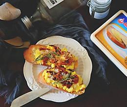 烤菌炒蛋开放式三明治#安佳黑科技易涂抹软黄油#的做法
