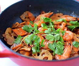 干锅莲藕基围虾的做法
