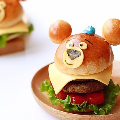 呆萌熊黑椒牛肉汉堡|野餐去吧