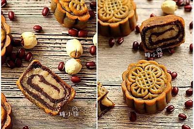 【斑纹豆沙莲蓉月饼】附:自制红豆沙+自制白莲蓉