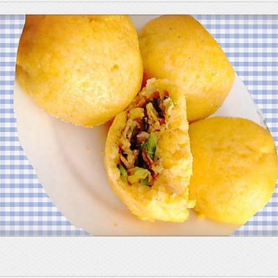 小白菜鸡蛋虾米玉米菜团子