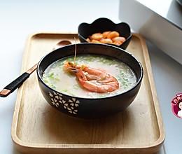 大虾青菜粥的做法