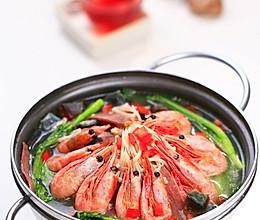 上汤金针菇北极虾的做法