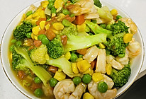 青豆玉米西兰花炒虾仁的做法
