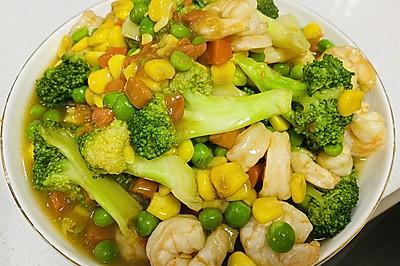 青豆玉米西兰花炒虾仁