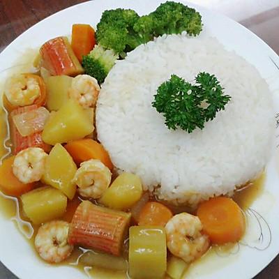 鲜虾咖喱饭
