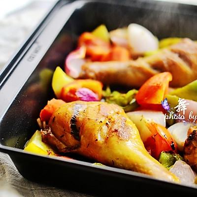 黑椒杂蔬烤鸡腿