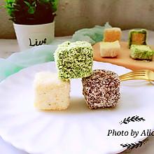 【三色拉明顿蛋糕#松下多面美味#】
