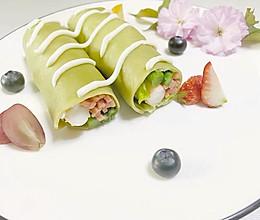 抹茶鲜虾蔬菜卷的做法