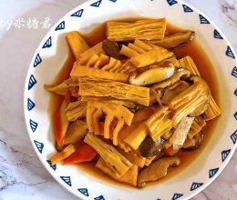 素菜也下饭:烧三鲜(香菇冬笋腐竹)的做法
