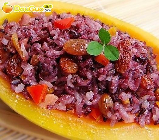 木瓜蔬果蒸饭的做法