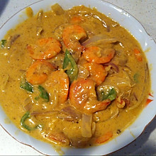 泰式红咖喱烩大虾