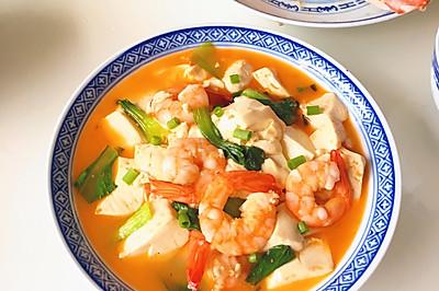 浓汤虾仁豆腐