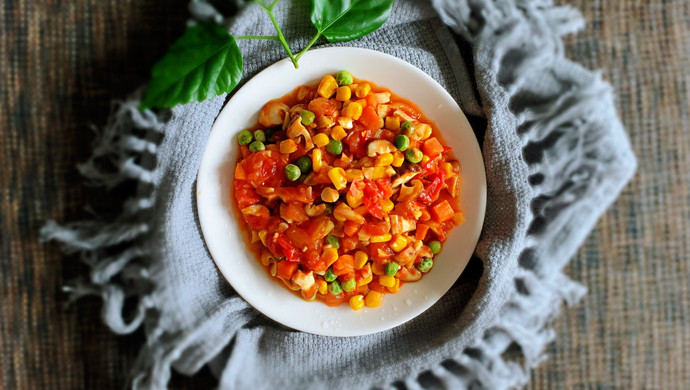 番茄香菇什锦菜