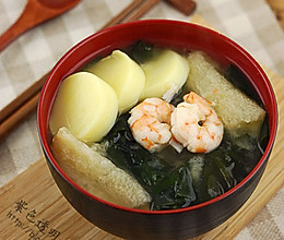 日式鲜虾味增汤的做法