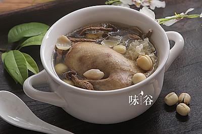白莲茶树菇鸽子汤   味谷