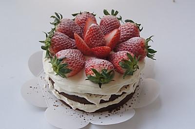 #九阳烘焙剧场# 巧克力草莓裸蛋糕