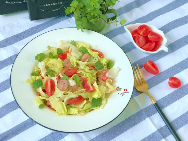 果蔬香肠沙拉,春日里的减脂食物的做法