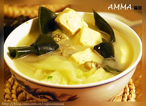 牡蛎豆腐汤 的做法
