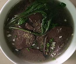 萝卜苗猪血汤的做法