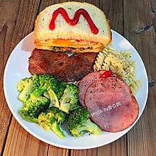 精美西式早餐三明治#百吉福芝士力量#
