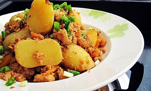 土豆虾仁炒肉末的做法