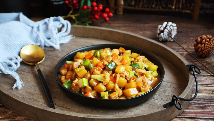 #520,美食撩动TA的心!# 鸡丁炒杂蔬